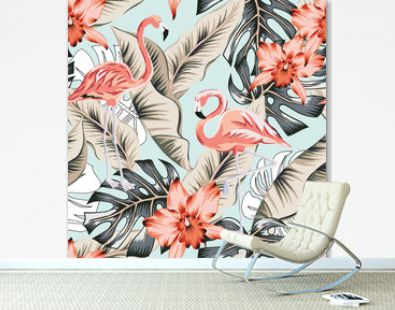 Tropical pink flamingo, orchid flowers, banana, monstera palm leaves, light blue background. Vector seamless pattern. Jungle illustration. Exotic plants, birds. Summer floral design. Paradise nature