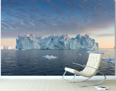 Nature and landscapes of Greenland or Antarctica. Travel on the ship among ices. Studying of a phenomenon of global warming Ices and icebergs of unusual forms and colors Beautiful midnight sun on ship