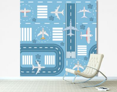 Seamless pattern of airport and runways with airplanes and airplane, top view.