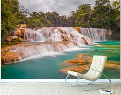 The magnificent cascades and waterfalls of Agua Azul in the tropical rainforest of the Chiapas state near Palenque, Mexico.