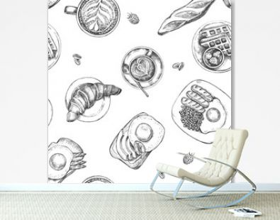 Decorative seamless pattern with Ink hand drawn breakfast dishes - fried eggs with sausages, croissant, baguette, coffee. Food elements texture for your design. Vector illustration.
