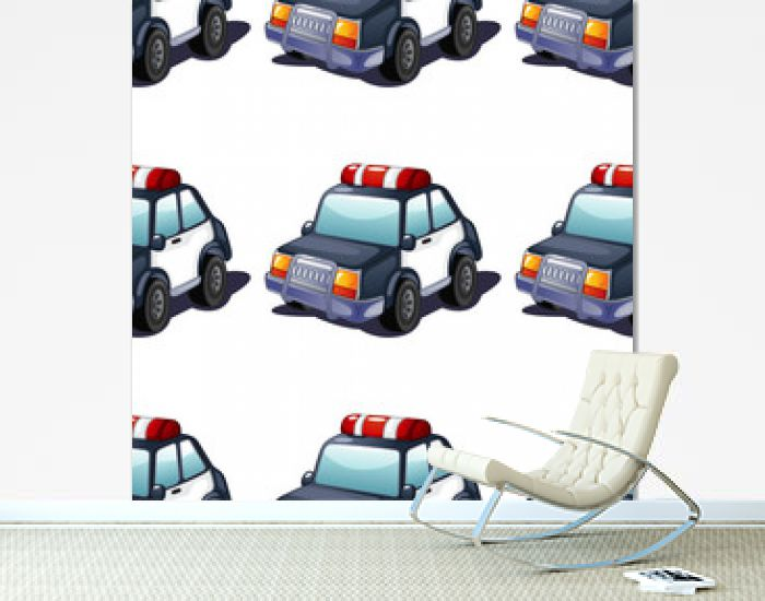 Seamless pattern tile cartoon with police car