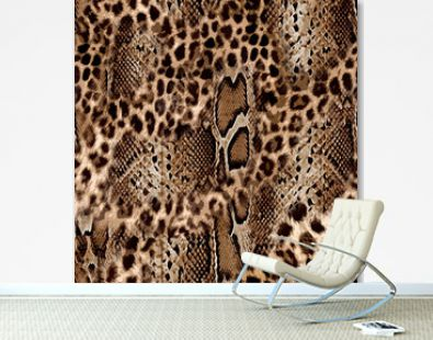 Seamless leopard and snake skin pattern design