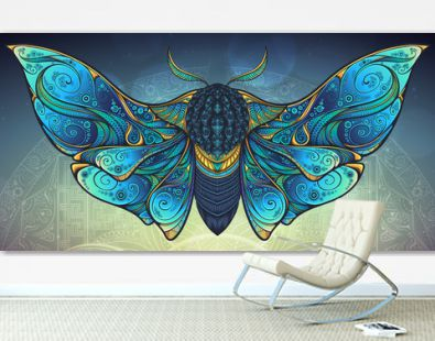 Abstract mystical Moth in psychedelic design. Vector illustration.