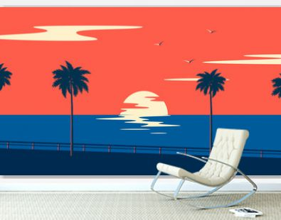 Sunset summer tropical beach with palm trees and sea. Nature landscape and seascape.