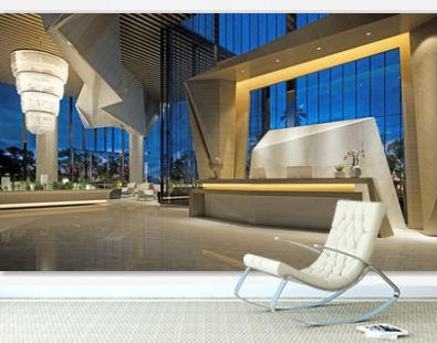 3d render of modern hotel reception lobby