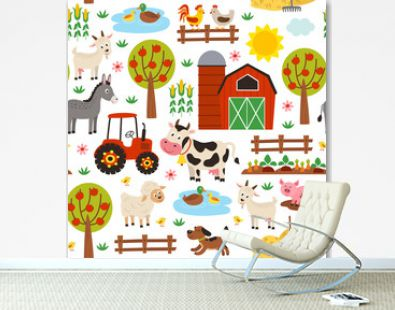 seamless pattern with farm animals on white background - vector illustration, eps