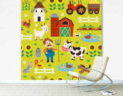 seamless pattern with farmer riding a tractor and farm animals - vector illustration, eps