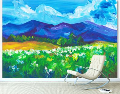 Oil landscape painting. Blue mountains, green fields, white flowers, cloudy sky. Bright artwork. Fine art. Abstract beauty summer colorful landscape. Modern art. Backdrop for cards, design, templates.