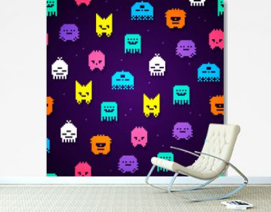 Vector Illustration seamless 8bit pixel monsters pattern. Retro game monster texture.
