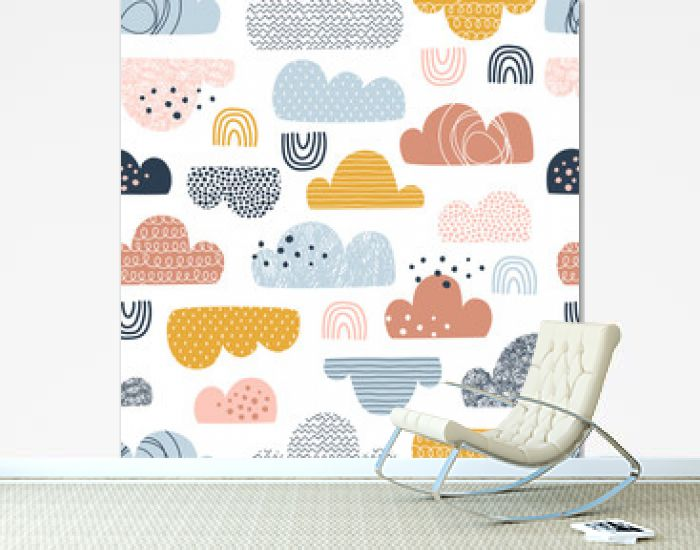 Clouds hand drawn color vector seamless pattern. Multicolor doodle eddies on white background. Decorative zigzag, line, scribble and circle spot clouds flat illustration. Textile, wallpaper design