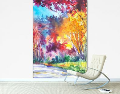 Watercolor illustration of a beautiful bright fall forest landscape