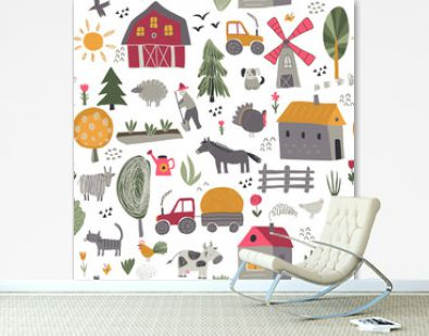 Vector seamless pattern with cute hand drawn farm animals, trees, houses, tractor, mill.