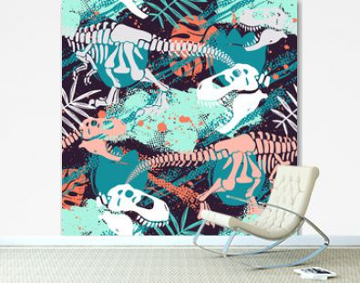 Abstract seamless vector pattern for girls, boys, clothes. Creative background with Jurassic period, dinosaur creative Funny wallpaper for textile and fabric. Fashion style. Colorful bright