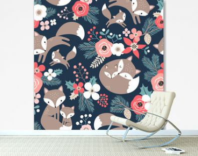 Seamless vector pattern with cute hand drawn fox family and flowers on dark blue background. Perfect for textile, wallpaper or print design.