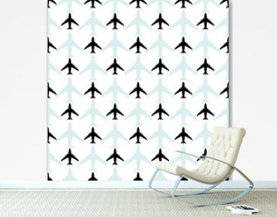 Airplane vector pattern. Simple airplane background in black and blue colors.