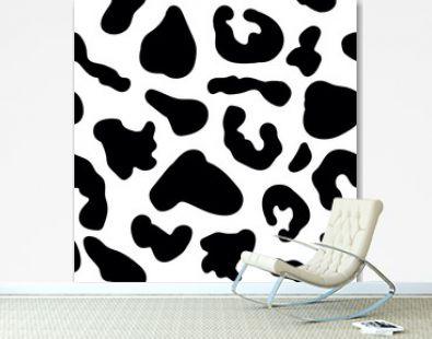 Seamless pattern with black jaguar leopard animal skin print texture fur