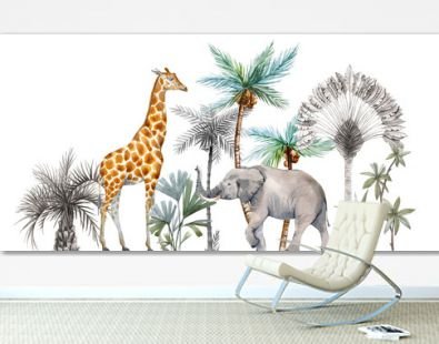 Watercolor safari animals with tropical palms composition. African giraffe, elephant.