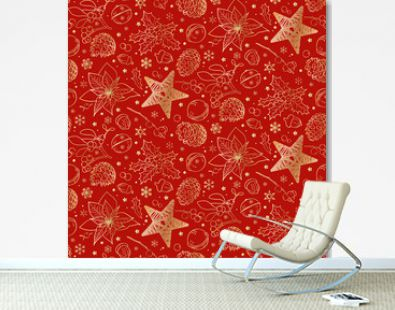 Christmas and New Year. Festive pattern - golden cones, poinsettia, mistletoe branches, bells, holly, stars, snowflakes on a red background. Seamless.
