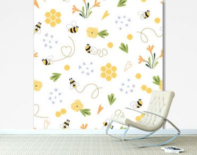 Bee honey pattern Bee floral yellow template Bee seamless pattern Cute honey templates vector