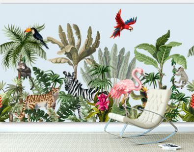 Seamless border with jungle animals, flowers and trees. Vector.