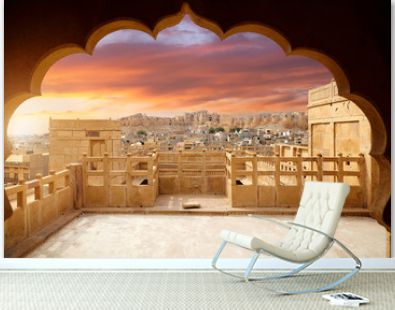 Jaisalmer city and Fort at sunset