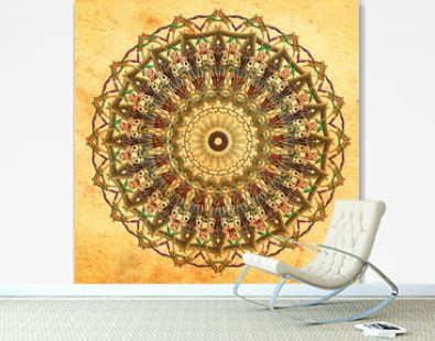 mandala colorful vintage art, ancient Indian vedic background design, old painting texture with multiple mathematical shapes, seamless pattern decoration for wall painting