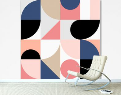 Minimalistic geometric seamless pattern in Scandinavian style. Abstract vector background with multicolor simple shapes and figures.
