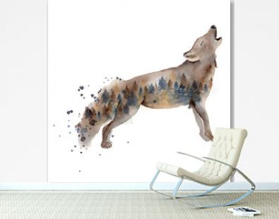 Watercolor wolf illustration wild forest animal with double exposure effect