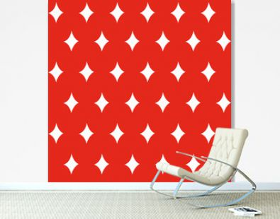 Diamond stars seamless christmas pattern - white figures on the red background. Vector illustration made in the traditional style of hand drawing. Used as a print for fabric, wrapping paper, wallpaper