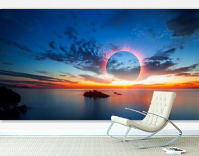 Beauty sunset over the sea - Beautiful landscape with solar eclipse