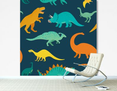Hand drawn seamless pattern with dinosaurs. Perfect for kids fabric, textile, nursery wallpaper. Cute dino design. Vector illustration.