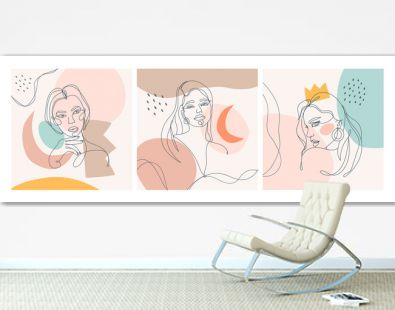 Set of three Modern abstract faces. Contemporary outline female silhouettes. Colored spots. Hand drawn outline trendy vector illustrations. Continuous line, minimalistic concept. Pastel colors