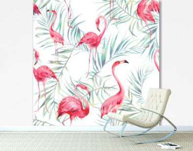 Watercolor flamingo and palm leaves texture. Hand drawn seamless pattern with exotic green branches on white background. Beach wallpaper design