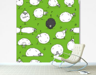 Funny sheep doing yoga, seamless pattern for your design