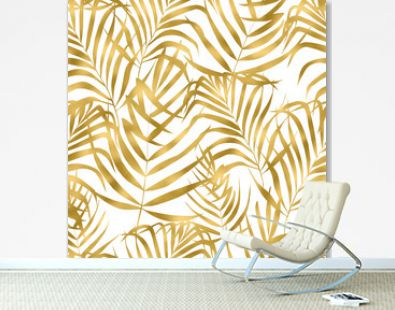 Beautiful watercolor seamless pattern with gold tropical leaves.