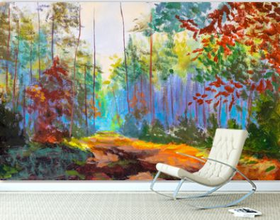 Impressionism modern oil painting autumn forest park alley sunlight landscape artwork. Sunny art