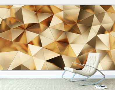 Abstract 3d rendering of gold surface. Futuristic background with lines and low poly triangle shape. High resolution 8k.