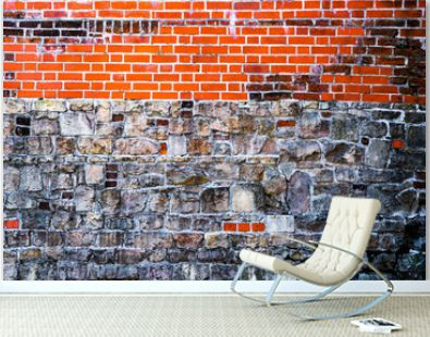 Red brown brick and old stones background