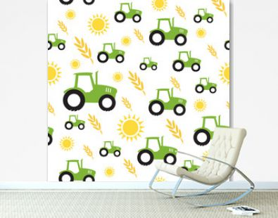 tractor farming seamless pattern vector