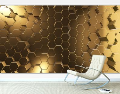 golden honeycombs, hexagon surface, abstract 3d background and texture, render image for internet design