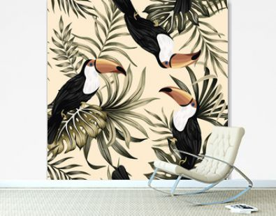 Tropical vintage exotic bird toucan, palm leaves floral seamless pattern yellow background. Exotic jungle wallpaper.