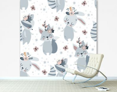 seamless pattern with spring bunny, fox and raccoon on a white background - vector illustration, eps