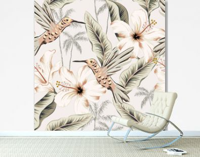 Hummingbirds, hibiscus flowers, banana leaves, palm trees, beige background. Vector floral seamless pattern. Tropical illustration. Exotic plants, birds. Summer beach design. Paradise nature