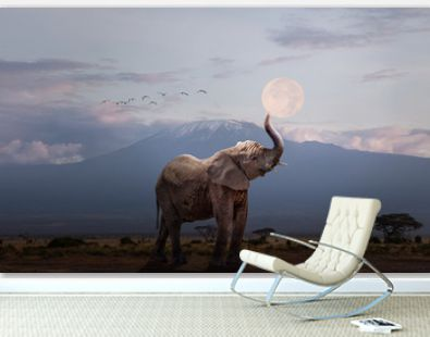 Elephant Holding Up Moon in Africa