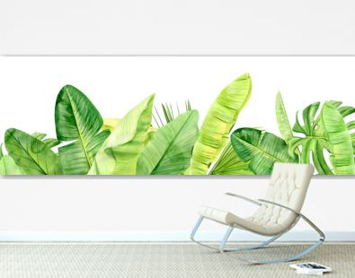 Green palm leaves and flowers banner. Tropical plant. Hand painted watercolor illustration isolated on white background. Realistic botanical art. For Web design and walpaper