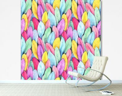 Bird feathers seamless pattern. Hand drawing watercolor. Design wallpaper, fabrics, packaging.