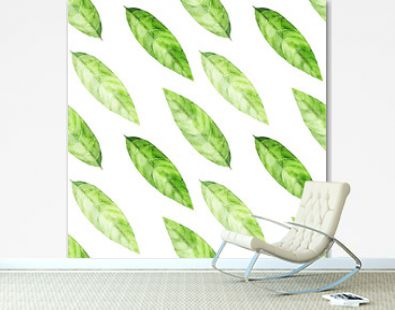 Watercolor seamless pattern with green tea leaves