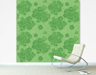 light green background with green flowers - vector seamless pattern