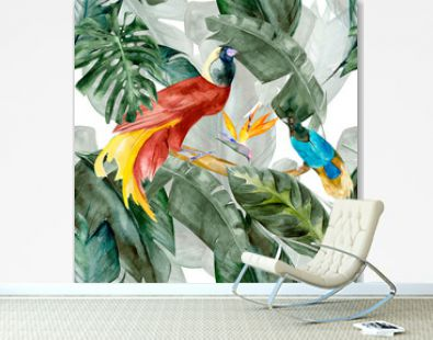 Tropicbirds on the background exotic green flower hibiscus and monstera palm leaves, banana leaf. Print summer floral plant. Nature animals wallpaper. Seamless watercolor jungle pattern textile.